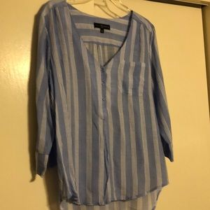 Blue and white striped blouse with longer back